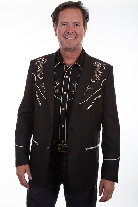 This Mens Scully Black and Brown Embroidered Western Blazer is a traditional cowboy dress coat for that special occasion a throwback to the old west country music days of simple classy looks and style for men.