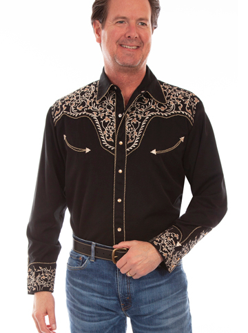 This Candy Cane Piped Brown Embroidered Mens Scully Western Shirt has vintage smiley pockets and retro floral embroidered yoke complete with pearl snaps a great western wedding cowboy shirt for men.