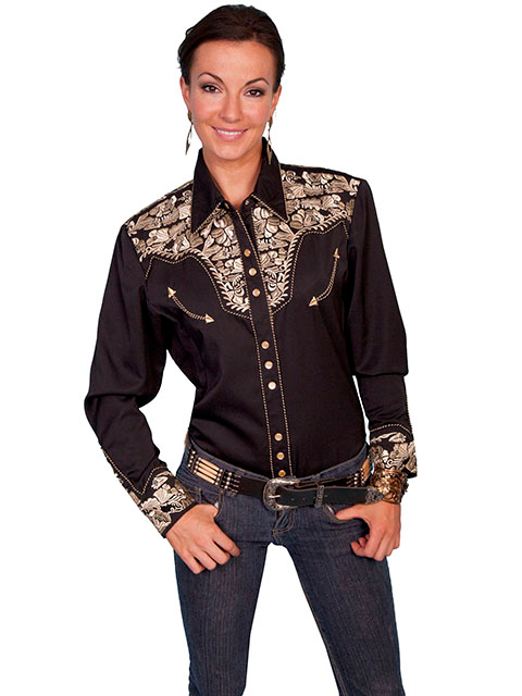 Womens Scully XS Gold Embroidered Black Western Shirt retro shirt, scully