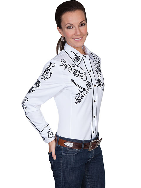 "This ""Lady Ponderosa"" Scully womens Black Rose White western shirt has embroidered roses with piping and smiley pockets closed up with matching pearl snaps and is available in mens for his and hers matching western shirts"