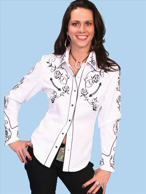 Scully womens Black Rose Embroidered White western shirt