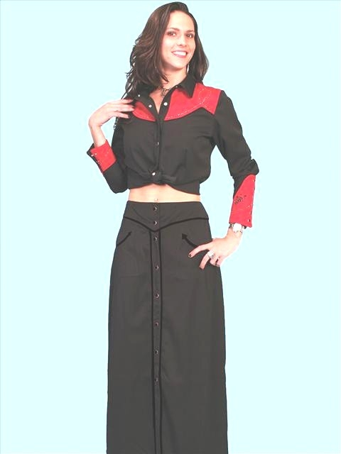 This Womens Retro Piped Pearl Snap Western Skirt is a dance hall hit. This long western skirt is Black on Black piped with black pearl snaps.