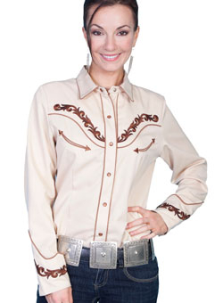 Scully womens Large tan embroidered western shirt