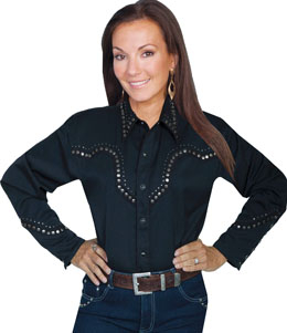 """Lady Black Iron"" Womens Scully Black studded Western Shirt, womens scully western shirt, womens western shirt, cowboy shirt, western shirt for women, scully retro shirt, vintage shirt, retro shirt, scully"
