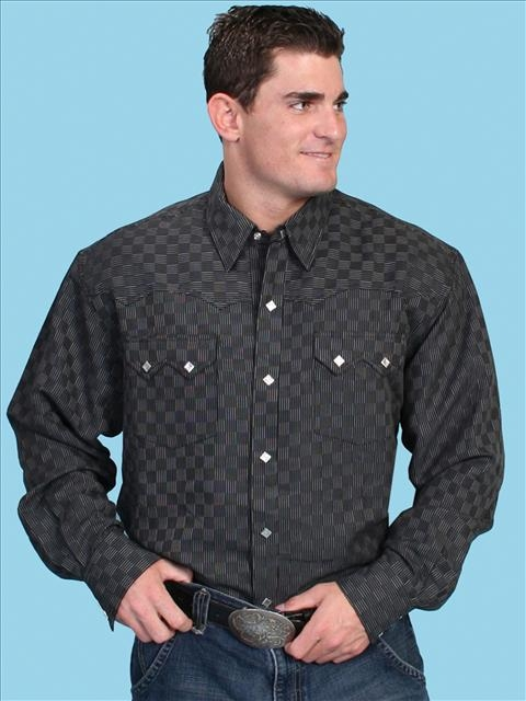 The Mens Scully Check Pattern Sawtooth Pocket Western Shirt is a rare find for the man who loves a classic looking western shirt with a bit of a modern flare. Beautiful feel on this 100% polynosics shirt