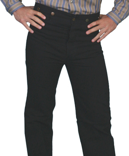 These Mens Rangewear black Cotton Canvas suspender pants worn by men and women with notched waist suspender buttons adjustable rear belt closure single pocket for the old western frontier pants cowboy shooters