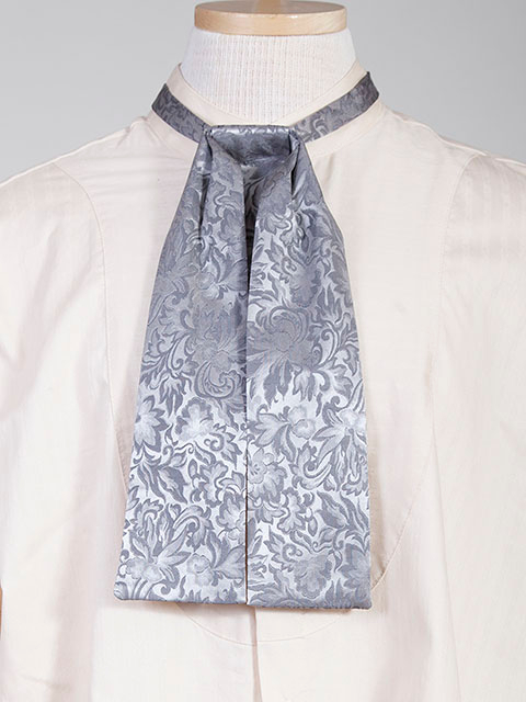 The Scully Rangewear Grey Silk puff tie neck tie scarf is a classic old frontier or old west look to it made with quality material with matching vests available.