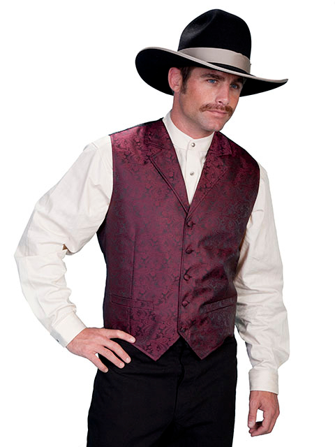 This Scully Mens Burgundy Paisley Dress Lapel western vest for western weddings or cowboy western dress vest with classic paisley print covered button front and welt pockets with back adjustable strap.