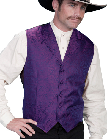 This Scully Mens Purple Paisley Dress Lapel western vest for western weddings or cowboy western dress vest with classic paisley print covered button front and welt pockets with back adjustable strap.