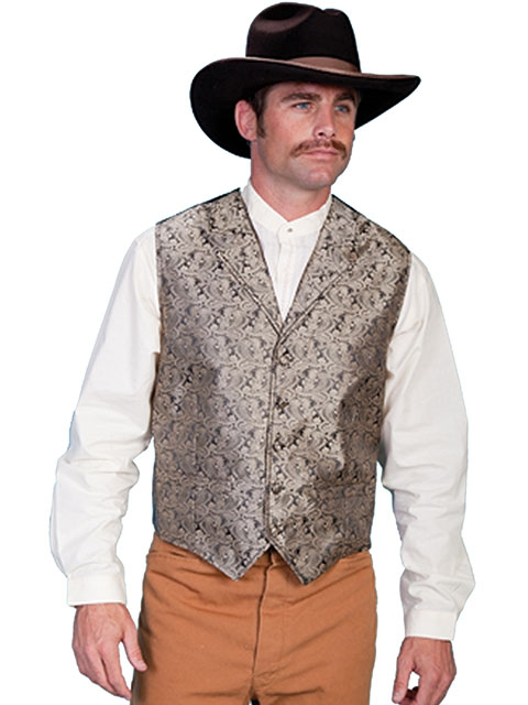 This Scully Mens Taupe Paisley Dress Lapel western vest for western weddings or cowboy western dress vest with classic paisley print covered button front and welt pockets with back adjustable strap.