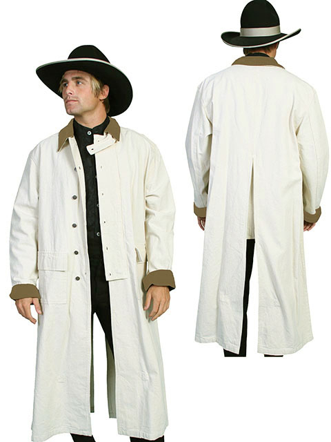 This Scully Wheat colored Canvas Authentic Frontier Duster is a 3/4 Length Classic authentic canvas duster with corduroy collar and cuffs. has metal buttons, saddle gusset and inside leg straps for bad weather riding. 100%