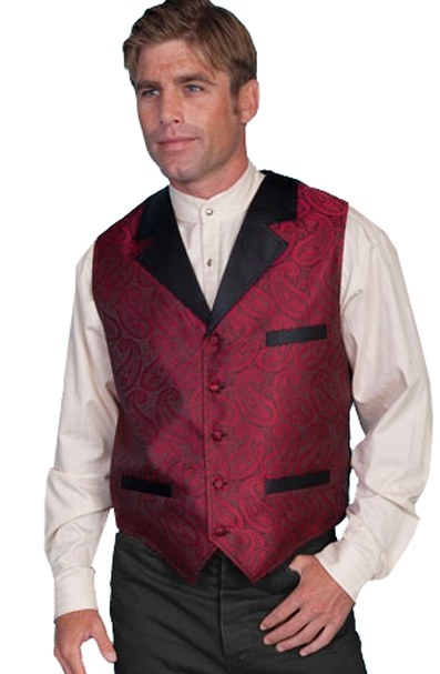 This Scully Mens Black Lapel Red Paisley 1800's Vest is reminiscent of the popular smoking jacket of the late 1800s with authentic contrast black notched lapel and the same three welt pocket a great wedding vest for men.