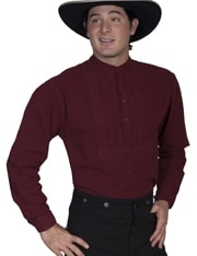 This stunning Mens Scully Burgundy Bib banded collar shirt features a paisley inset bib with shirt tab and is gathered at the center back yoke for extra comfort.