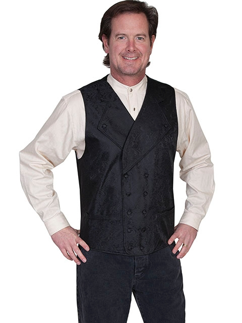 This Scully Mens Black Notched Lapel Double Breasted Paisley Vest has extra wide button down notched lapels a double breasted front 2 welt pockets paisley scroll front. Steampunk vest for men.