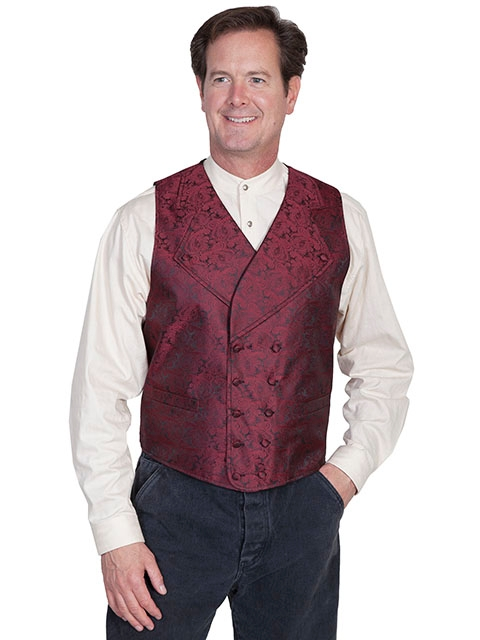 This Scully Mens Burgundy Notched Lapel Double Breasted Paisley Vest has extra wide button down notched lapels a double breasted front 2 welt pockets polyester paisley scroll front. Steampunk vest for men.