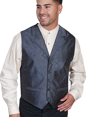 This Scully Mens Charcaol Gray Polyester Paisley Lapel Vest has delicate paisley print with notched lapels, two welt pockets, self covered buttons and an adjustable back strap for a great fit a perfect wedding vest for men.