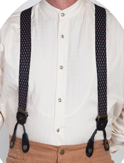 Scully Rangewear Black Diamond Pattern Y Back Suspenders 1.5""