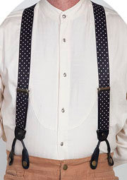 Scully Rangewear Black Polka Dot Y Back Suspenders 1.5""