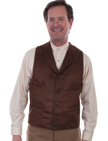 This Mens Scully Ultra Suede Brown Western Lapel Vest is a Casual vest designed with comfort and warmth in mind, this vest is made in a microfiber fabric with notched lapels and a five button front closure