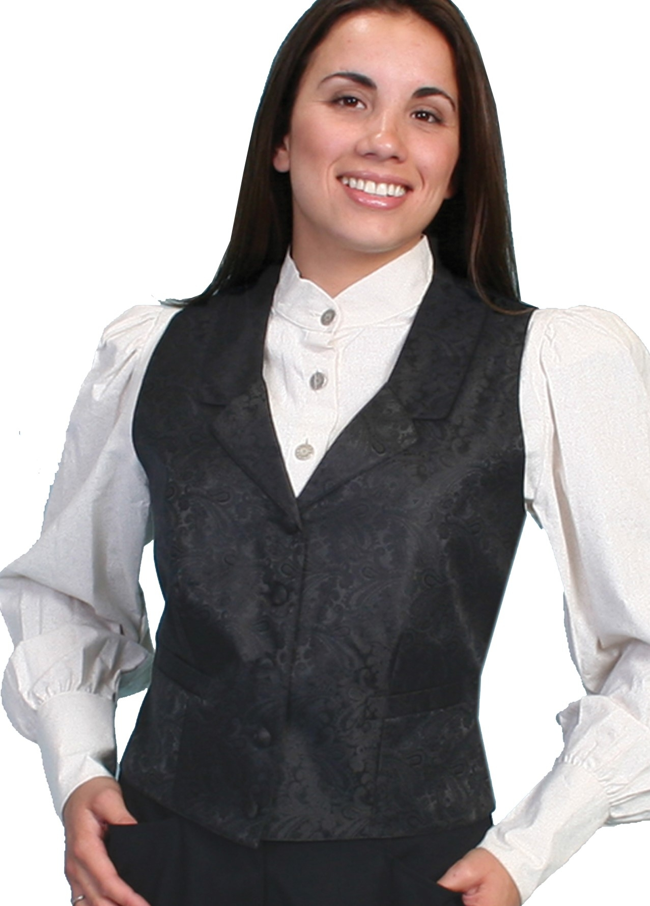 Womens Scully Black Paisley western vest, Womens Victorian vest, scully western vest, scully vest, 1800's womens vest, womens 1800's western vest, 1800's vest for women