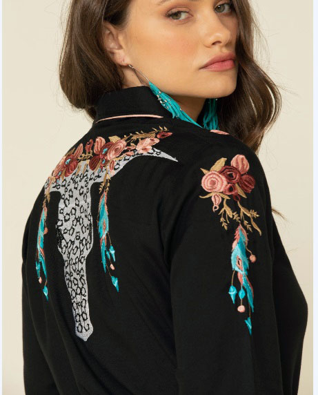 Scully Womens Scully Longhorn Embroidered Black Western Shirt floral top back yokes and sleeves has retro smiley pockets closed up with matching pearl snaps make a great country western shirt for the ladies.