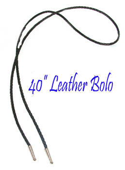 "This 40"" Black leather Bolo tie String made in the USA makes a great replacement string for your existing bolo, hand made in the taller length in real leather with silver ends."