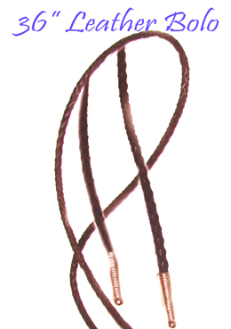 "This 36"" Brown leather Bolo tie String made in the USA makes a great replacement string for your existing bolo, hand made in real leather with brass ends."
