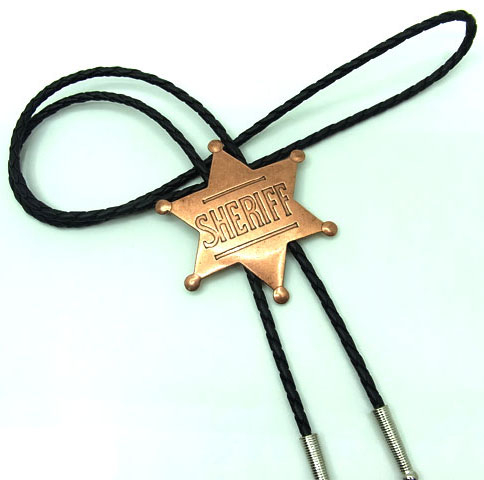 This Gold Sheriff Badge Bolo Tie is made of real brass with a 6 point old west sheriff badge on a black bolo string great on a cowboy shirt