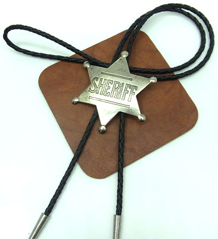 This Silver Sheriff Badge Bolo Tie is silver plated with a 6 point old west sheriff badge on a black bolo string great on a cowboy shirt