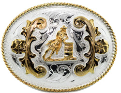 "This 4"" Sterling Silver Gold Plated Barrel Racer Belt Buckle is a great addition to your cowboy belt with this beautiful etched Sterling silver oval shaped belt buckle and gold plated woman on a horse in a barrel race."