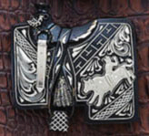 German Silver Black Western Saddle Belt Buckle