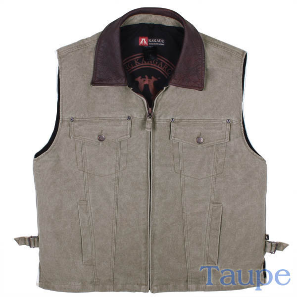 """Kelly"" Kakadu Taupe Canvas Concealed Carry Western Vest, gun carry vest, concealed Carry Western Vest, canvas western vest, mens western vest, western vest for men"