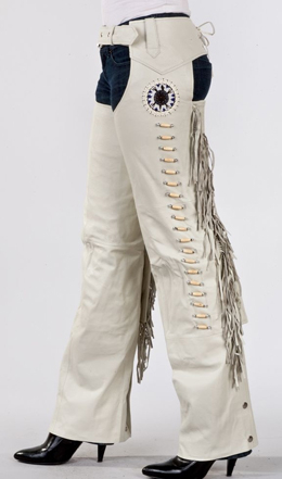 These Bone leather fringe western chaps are a beautiful creamy off white leather chaps with bones and native rosette beads complete with fringe down the sides and adjustable cowgirl rodeo or horseback riding chaps
