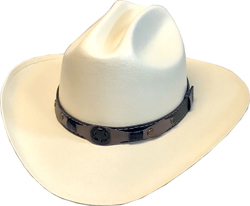 """The Texan Jr"" Kids Canvas Cream Straw Cattleman Cowboy Hat is great for any occasion, a perfect simple cowboy hat to carry around and good for cowboys or cowgirls everywhere."