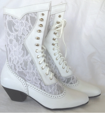 "These ""Cathedral"" Women's White Leather Lace Up Frontier Wedding Boots look great for any western wedding. These white granny Victorian boots have white see through lace with a 9"" shaft and a 3"" heel and lace up hooks"