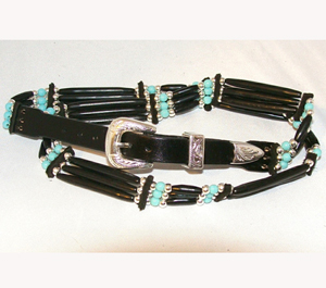 This Turquoise Sterling Silver Black Cow Bone hat band is hand made in the USA with quality bones and beaded accents really makes any cowboy or cowgirl hat look much better.