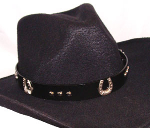 This Black Leather Rhinestone Silver Studs Horseshoe Cowboy Hat Band is made of real leather with silver studs and silver horse shoes with rhinestones inlay and a leather tie closure.