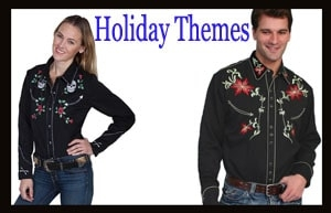 Holiday themed western shirts for men or women in Halloween skulls and ghosts to western shirts for Christmas cowboys with detailed embroidered country shirts.