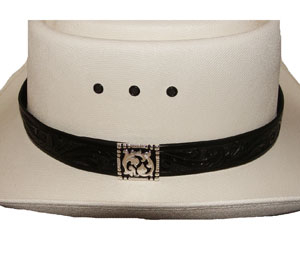 "This 1"" Carved leather Black hat band is a simple tooled leather band made in the USA. This leather cowboy hat band features a silver side concho with a hidden hook for keeping the leather band in place on your cowboy hat."