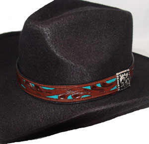 This Tooled leather Brown with Turquoise Leather Inlay Hat Band is made in the USA of genuine leather with a turquoise inlay on a black tooled leather cowboy hat band with a silver side concho with a hidden hook keeper.