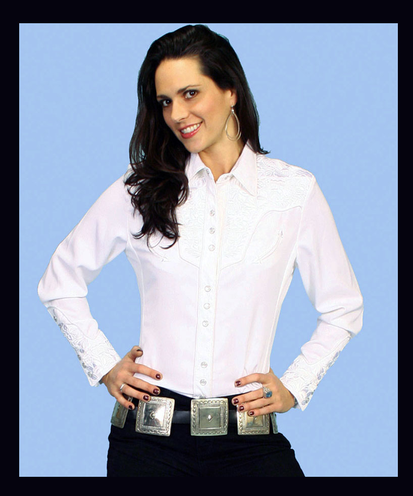 "This ""Lady Gunfighter"" Scully womens White western shirt is a popular matching western shirt for his and hers matching wedding shirts embroidered front & back yokes retro piping smiley pockets pearl snaps."