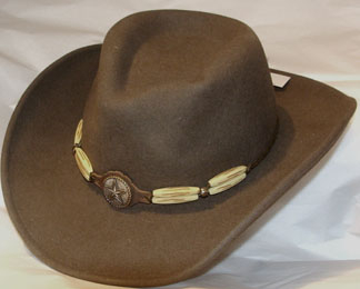 "This Bailey ""Reese"" brown Crushable cowboy hat is USA MADE with Litefelt® telescope crown a southwestern or native american Indian look with the bones and silver western star on a contrasting brown hat band"