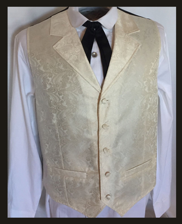 This Scully Mens Cream Paisley Dress Lapel western vest for western weddings or cowboy western dress vest with classic paisley print covered button front and welt pockets with back adjustable strap.