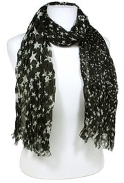 "This Western Star Black Jagged Edge Scarf has the feel of soft silk without the high price featuring black stars in a modern fashionable jagged edge and ribbed scarf that measures 66"" long and 20"" wide."