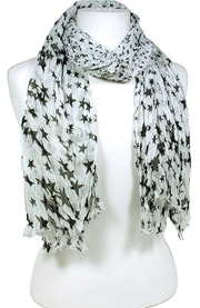 "This Western Star White Jagged Edge Scarf has the feel of soft silk without the high price featuring black stars in a modern fashionable jagged edge and ribbed scarf that measures 66"" long and 20"" wide."