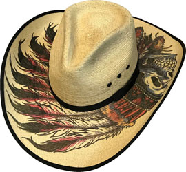 This Adult Palma Verde Native Chief Skull Straw Cowboy Hat has the stylish pinch front crown with the detailed top and underneath native feathers and skull designs to make this a unique and rare cowboy hat.