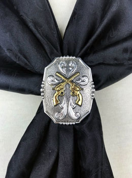 This Silver Rectangular Double Gun Pistols Western Scarf Slide is the perfect way to show your old west spirit. A double gun on your neck scarf is also a great western fashion.