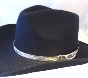 This Sterling Silver Hat Band is laser etched with a buckle hook closure sterling silver plate a very hard to find silver hat band in a solid half inch bar design cowgirl hat county fair or rodeo.