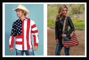 Patriotic apparel, American flag apparel, Flag western shirts, usa flag handbag, usa flag hat bands, flag cowboy hats, usa flag scarf